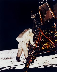 Buzz Aldrin descending the ladder during the Apollo 11 moon landing. Photo credit: NASA